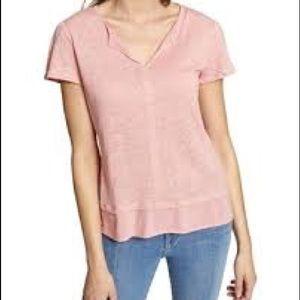 Sanctuary Pink Mixed Media Short Sleeve Shirt
